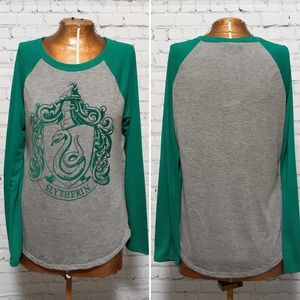 Harry Potter Slytherin Raglan Baseball T-shirt EUC